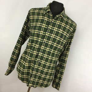 J Crew L Large Flannel Shirt Green Yellow Plaid